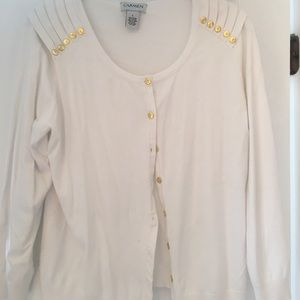 White sweater with gold buttons